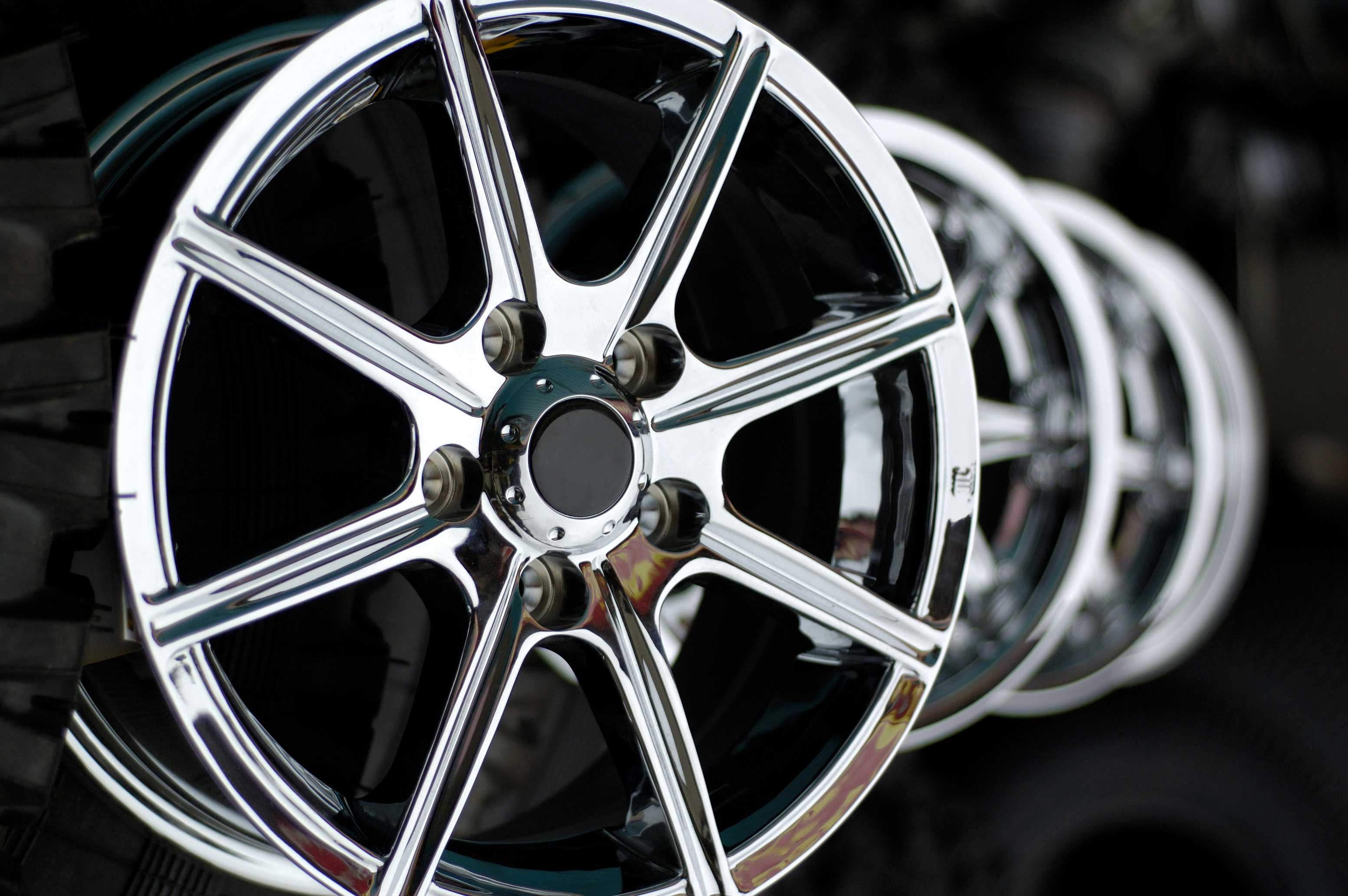 Four alloy wheels lined up