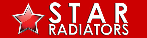 Red Star with Star Radiators white text on red background logo